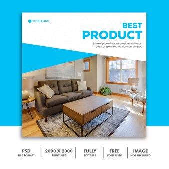 Modèle de bannière de médias sociaux, meubles best blue elegant