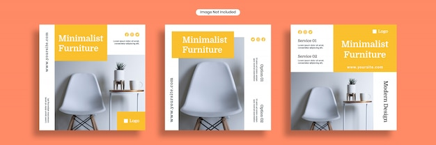 Modèle de bannière de médias sociaux de meubles minimalistes ou collection de flyers carrés
