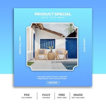 Modèle de bannière de médias sociaux, mobilier de luxe spécial bleu