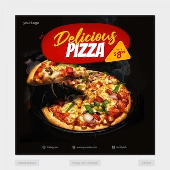 Modèle de bannière de médias sociaux pizza délicieuse