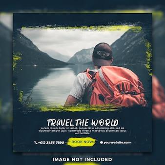 Modèle de bannière et de médias sociaux pour les vacances de voyage