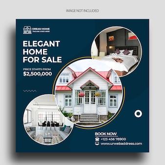 Modèle de bannière de médias sociaux de publication d'instagram immobilier