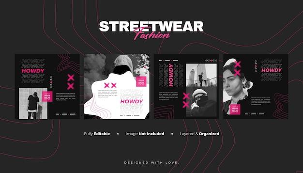 Modèle de bannière de médias sociaux et de publication instagram pour la mode streetwear