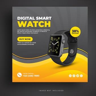 Modèle de bannière de médias sociaux smartwatch numérique