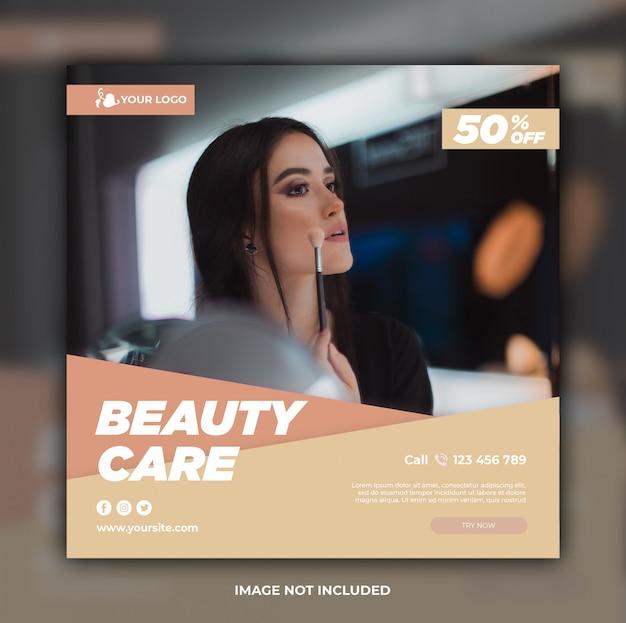 Modèle de bannière de médias sociaux de soins de beauté