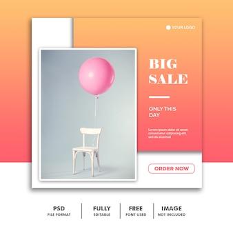Modèle de bannière de médias sociaux, vente de décoration de meubles