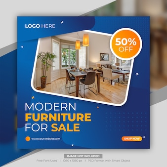 Modèle de bannière de médias sociaux de vente de meubles modernes