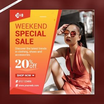 Modèle de bannière de médias sociaux de vente spéciale de week-end