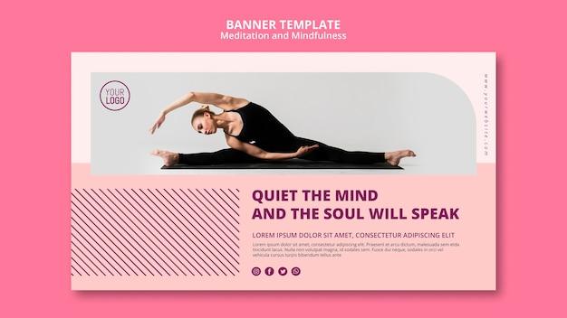 Modèle de bannière de méditation calme l'esprit