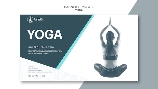 Modèle de bannière de méditation féminine de classe de yoga