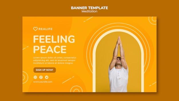 Modèle de bannière de méditation sentiment de paix