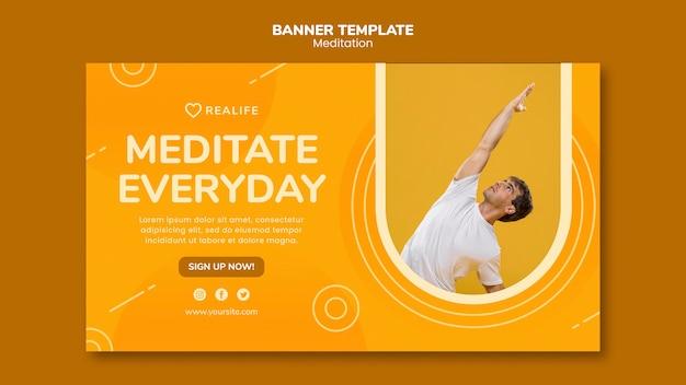 Modèle de bannière de méditation