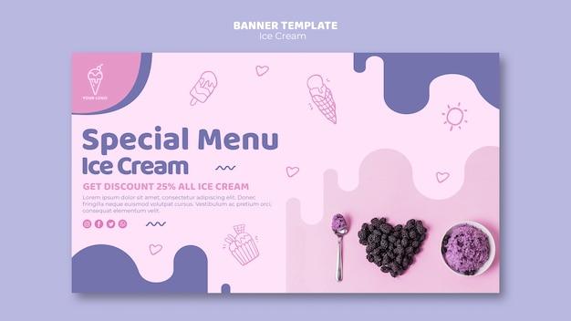 Modèle de bannière de menu de crème glacée