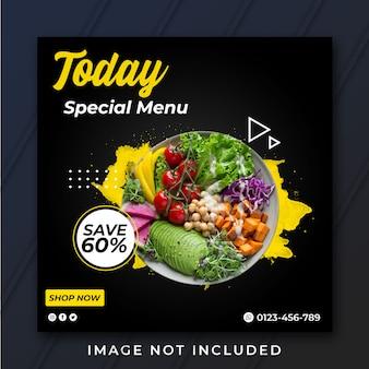 Modèle de bannière à menu spécial carré