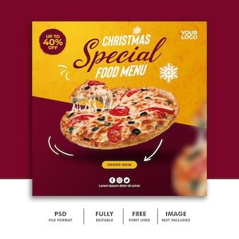 Modèle de bannière de message de médias sociaux de noël pour le menu de restauration rapide de restaurant pizza