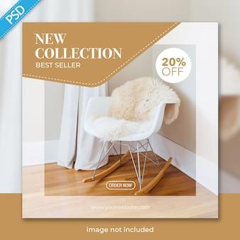 Modèle de bannière de meubles pour les médias sociaux instagram