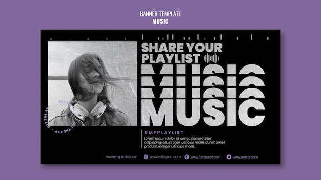 Modèle de bannière de musique avec photo