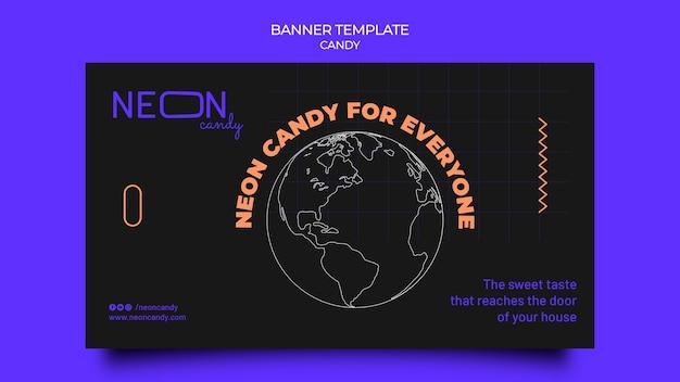 Modèle de bannière néon pour magasin de bonbons