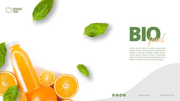 Modèle de bannière de nourriture bio avec photo