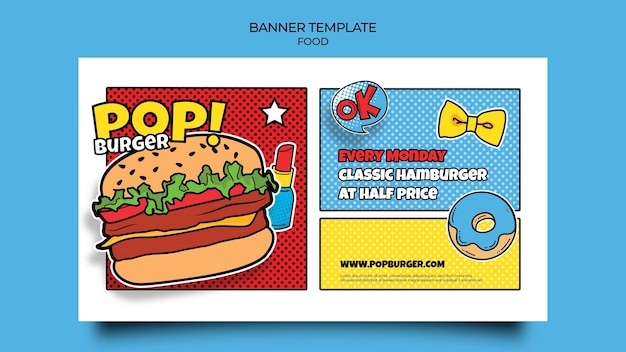 Modèle de bannière de nourriture pop art