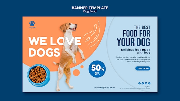 Modèle de bannière de nourriture pour chien