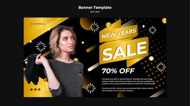 Modèle de bannière de nouvel an