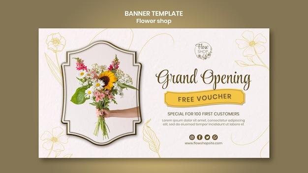 Modèle de bannière d'ouverture de magasin de fleurs