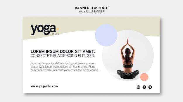 Modèle de bannière pastel de cours de yoga