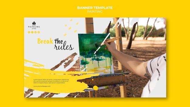 Modèle de bannière de peinture avec photo