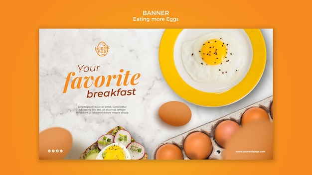 Modèle de bannière de petit-déjeuner préféré aux œufs