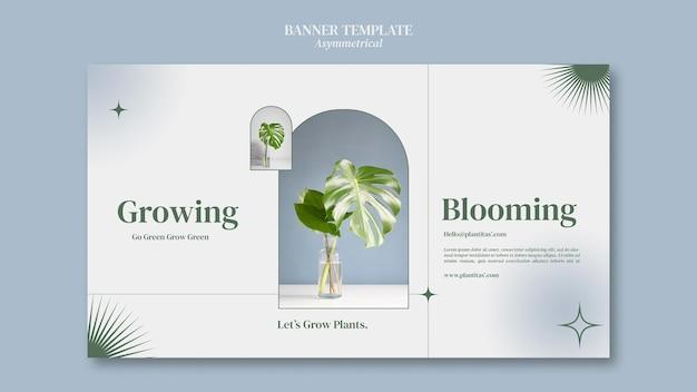 Modèle de bannière de plantes en croissance