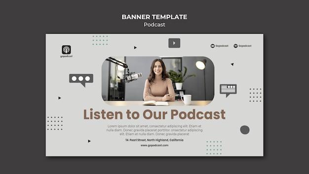 Modèle de bannière de podcast avec photo