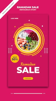 Modèle de bannière et post histoire de vente ramadan instagram