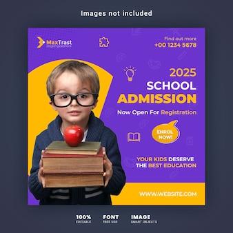 Modèle de bannière de post instagram d'admission à l'école