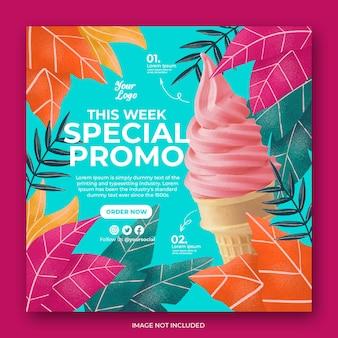 Modèle de bannière post instagram de crème glacée dessinée à la main
