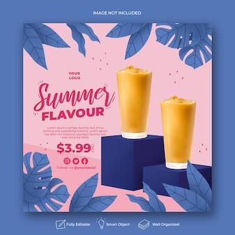 Modèle de bannière post instagram de promotion de menu d'été sur les médias sociaux