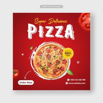 Modèle de bannière de post instagram promotion de menu de pizza