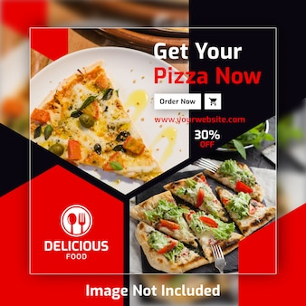 Modèle de bannière de poste de pizza carré pour restaurant