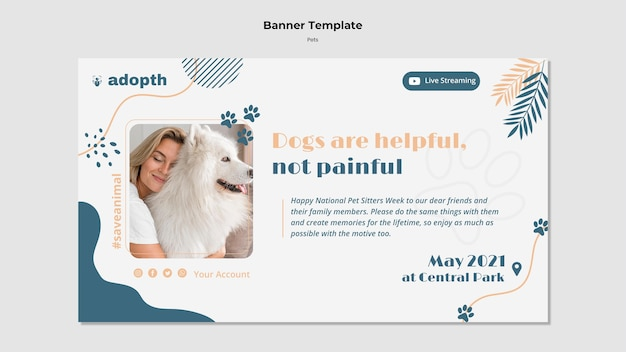 Modèle de bannière pour l'adoption d'animaux de compagnie
