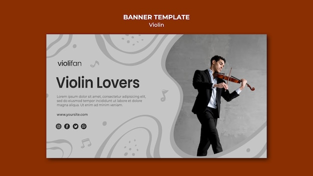 Modèle de bannière pour les amateurs de violon