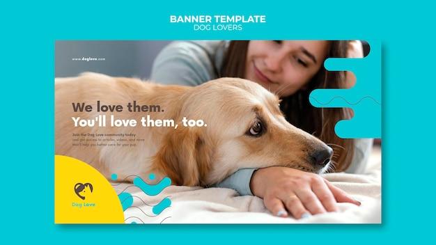 Modèle de bannière pour les amoureux des chiens avec propriétaire féminin