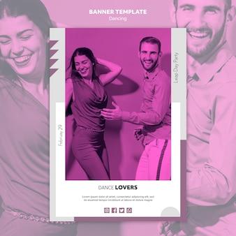Modèle de bannière pour les amoureux de la danse heureuse