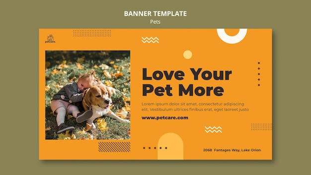 Modèle de bannière pour animaux de compagnie d'amour