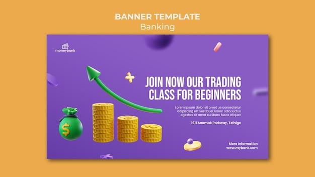 Modèle de bannière pour la banque et la finance en ligne