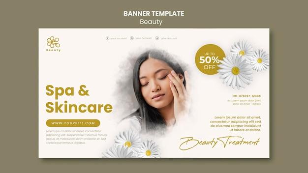 Modèle de bannière pour la beauté et le spa avec des fleurs de femme et de camomille
