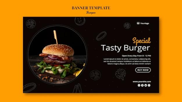 Modèle de bannière pour bistro de hamburgers
