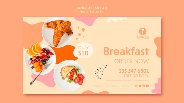 Modèle de bannière pour commander le petit-déjeuner