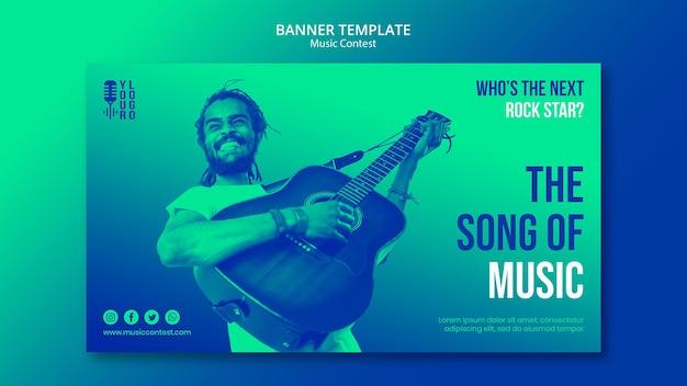 Modèle de bannière pour concours de musique live avec interprète