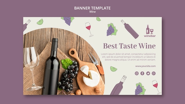 Modèle de bannière pour la dégustation de vin avec des raisins