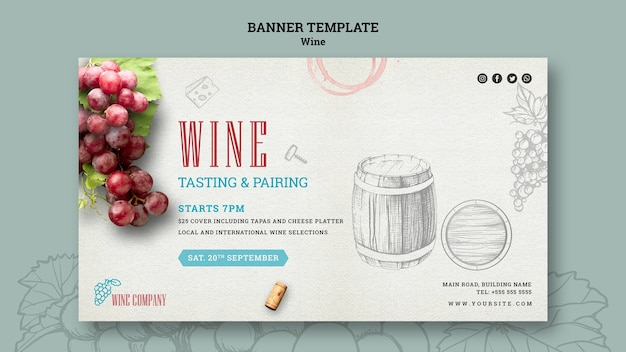 Modèle de bannière pour la dégustation de vin